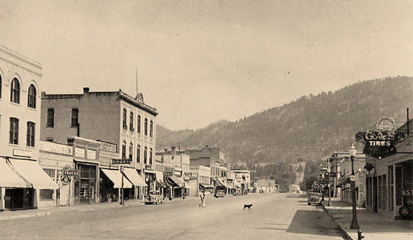 Main Street, Colville, looking north, ca 1930s - old Hotel Colville and Rickey Building on the left.